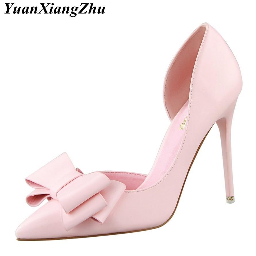 Mulheres de alta Qualidade Bombas Sexy sapatos de Salto Alto Sapatos de Casamento Pontas Stiletto Toe Arco Sapatos Femininos 2018 Moda Sapatos de Salto Das Mulheres rosa