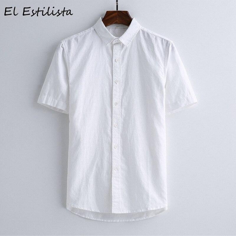 a53d2a10f0 Camisas Lino Light Algodón white Fresco Para Blue Manga Corta Cáñamo Ropa  Hombre Turn Collar Blanco ...