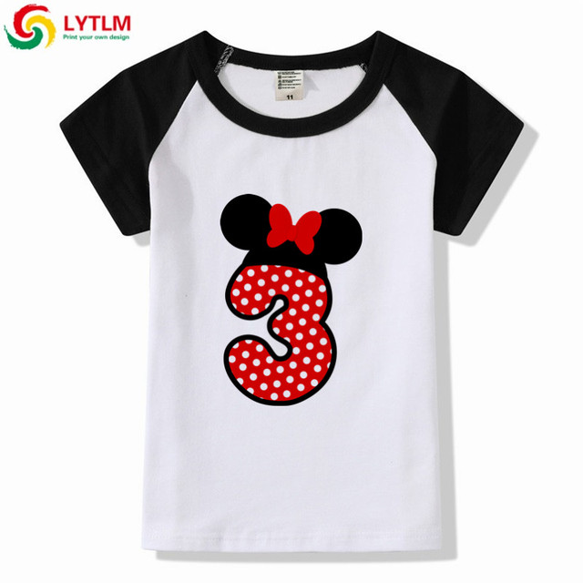 LYTLM Happy Birthday 3 Years Kids Funny T Shirts Baby Girl Gift Clothes Boys And Girls Raglan Sleeve Shirt