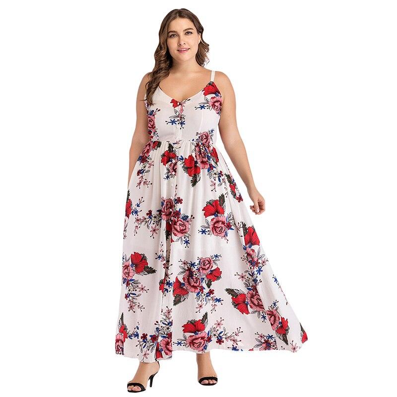 Women Summer Long Dress Floral Print V-Neck Spaghetti Strap Split Bohemian  Beach Maxi Dresses Plus Size 4XL Vestido Feminino