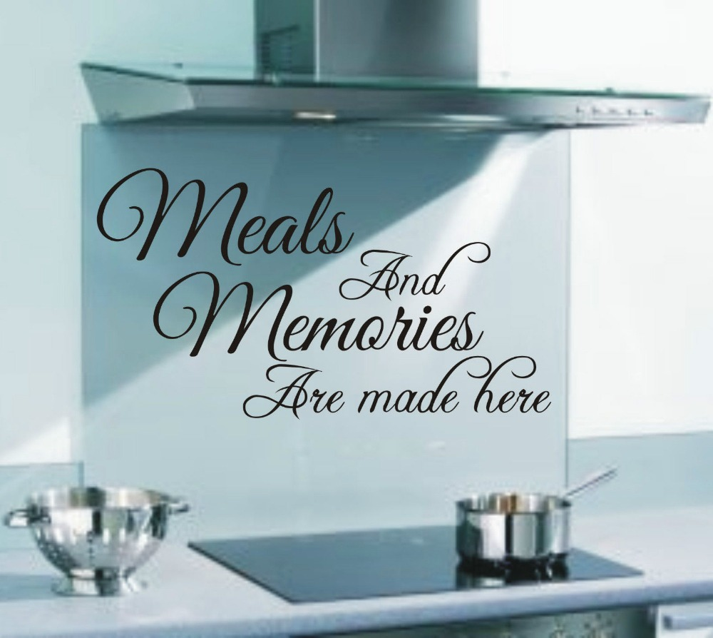 Wall art kitchen quotes - Meals And Memories Are Made Here Funny Kitchen Wall Art Sticker Quote Wall Decals 3 Sizes