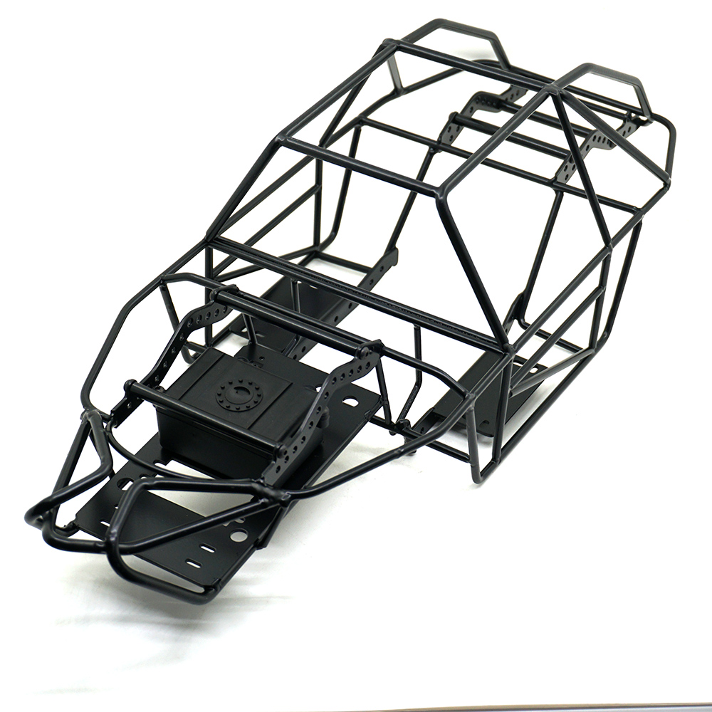 Black 1/10 Scale RC Metal Frame Roll Cage w/inner Parts Rock Crawler Body Black Chassis Climbing Truck Parts SCX10