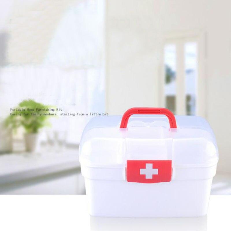 White Plastic Family First Aid Kit  Medicine Box 2 Layers Portable Mobile Camping Survival Emergency Drug Storage Box DJB003