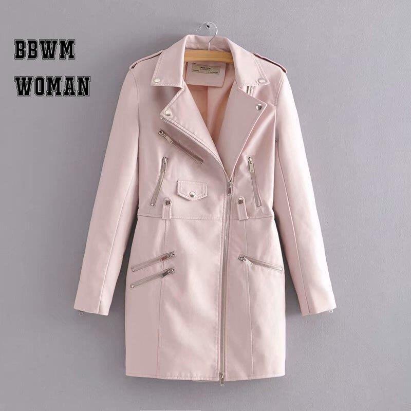 PU   Leather   Burgundy Pink Black Dress Style Women Jacket Long Sleeve Pocket 2018 Fashion Winter Coat ZO1402