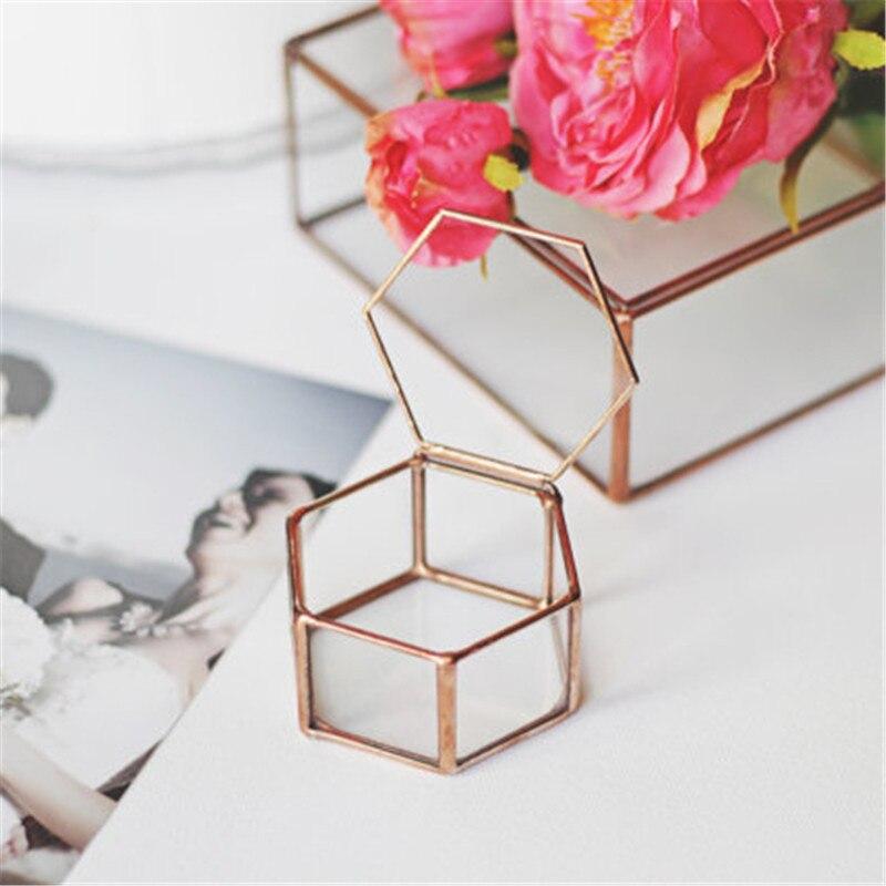 Mini Hexagon Geometric Wedding Ring Box Ring Bearer Box Tabletop Succulent Plants Planter Wedding Decoration1