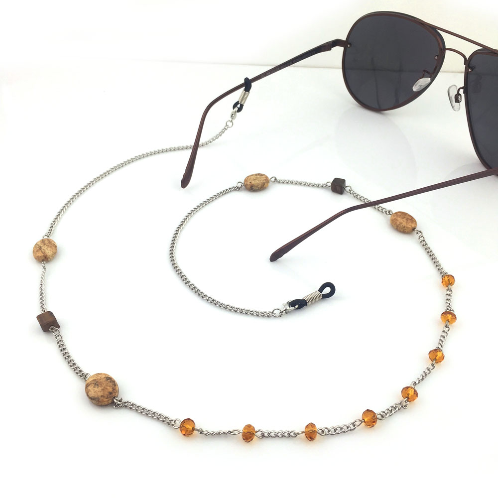 GL161 1PCS/Lot Free Shipping handmade nature stone oval shaped reading glasses chain ...