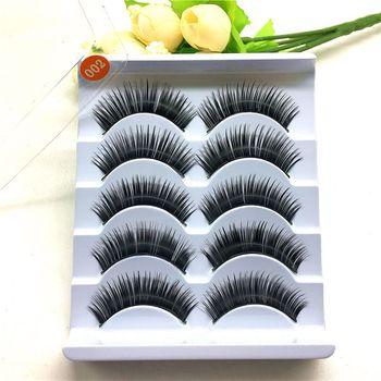 5Pairs/Set Natural Soft Handmade Black Long Thick Cross False Eyelashes Fake Eye Lashes Extension Makeup Beauty Tools 002 False Eyelashes