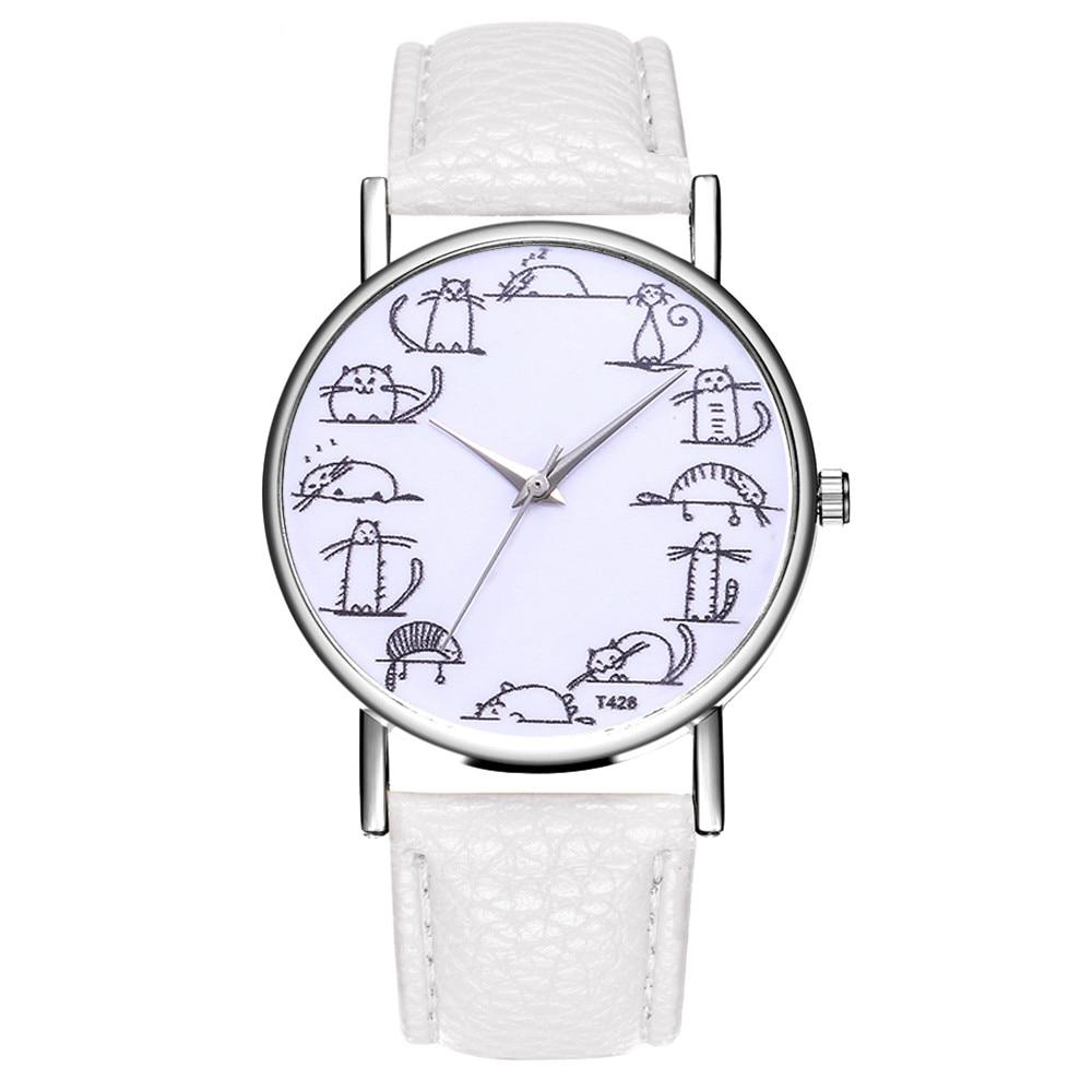 Hot Fashion Women's Watch Casual Temperament Leather Belt Analog Quartz Wristwatches Cat Print Watch Girl Watch Gift Clcok #A