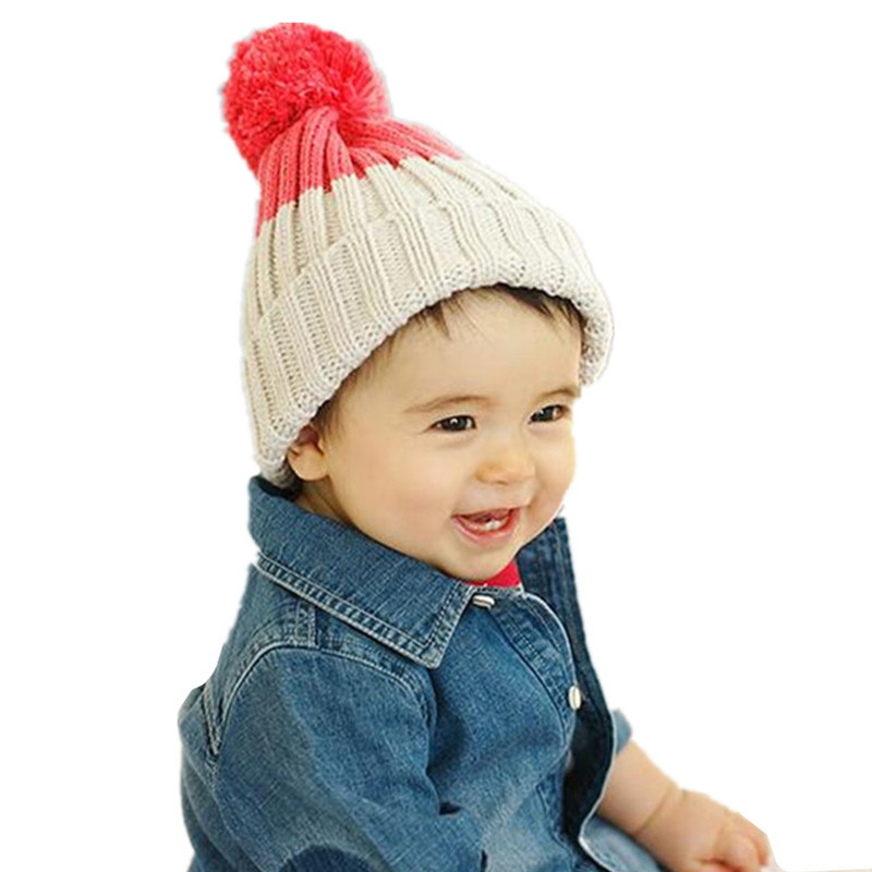 Fashion Children Knitted Ball Hat Autumn Winter Warm Cotton Baby Hat Girl Boy Beanies Kids Cap Candy Color Cute Baby Accessories цены онлайн