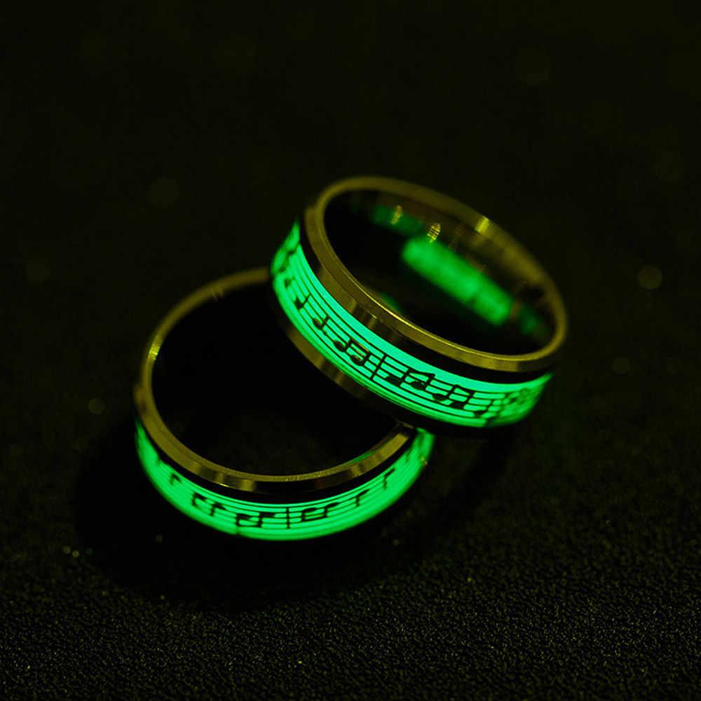 Anillo de estilo Punk que brilla en la oscuridad notas luminosas anillo de personalidad anillos de parejas de acero inoxidable accesorios de Bijouterie * 30