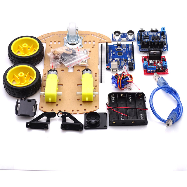 Módulo ultrasónico para Arduino Kit de Motor de seguimiento de evitación, Robot inteligente, kit de chasis de coche, codificador de velocidad, batería, caja, 2WD