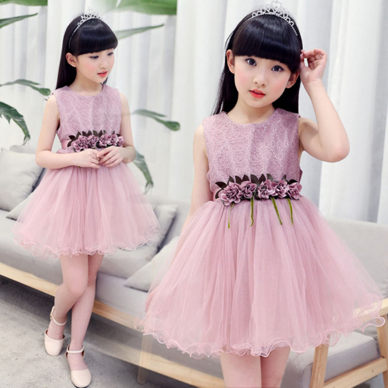 Summer Toddler Girls Lace Flowers Dresses Baby Girl Princess Birthday Party Dress Kids Ball Gown Tutu Dress Children Clothing цена