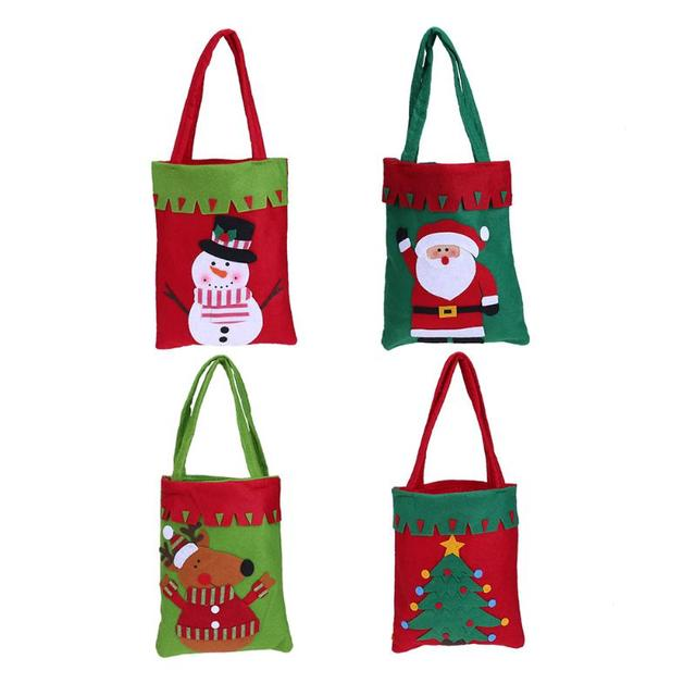 christmas gift bags candy tote bags christmas decorations four patterns santa snowman deer xmas tree
