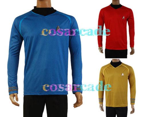 Star Into Darkness Trek Captain Kirk/Spock Shirt Badge Uniform Dress Cosplay Costume Blue Version Size XS-XXXL(China)