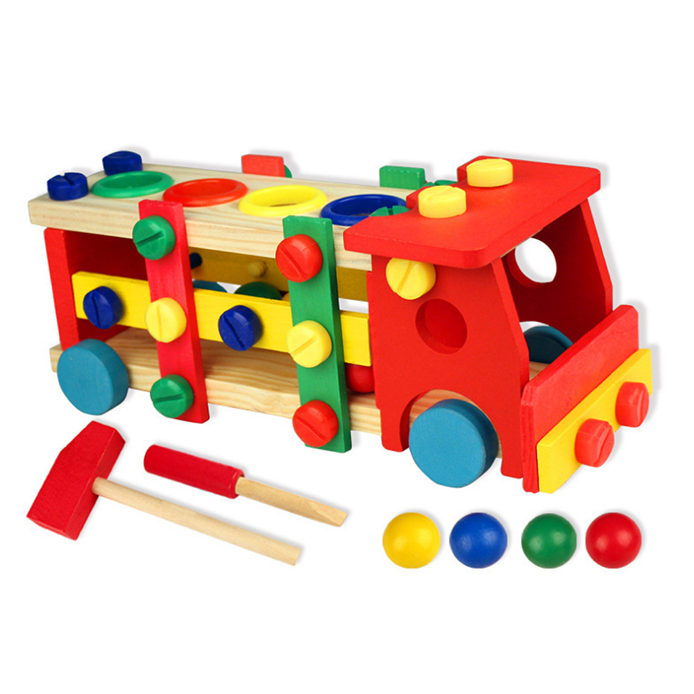 Baby Early Educational Wooden Toy Tools Kids Tool Car Disassemble Table Games Learning Knock On The Ball Screw Assembly Toy