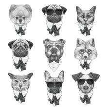 Waterproof Temporary Fake Tattoo Stickers Grey Dog Cat Fox Animals Vintage Design Body Art Make Up Tools