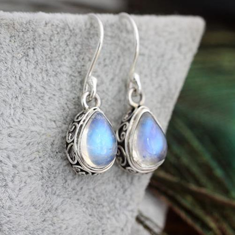 Bali, India and Nepal Handmade 925 Sterling Silver Jewelry Earrings inlaid natural Moonstone Vintage Drop Earrings For Women