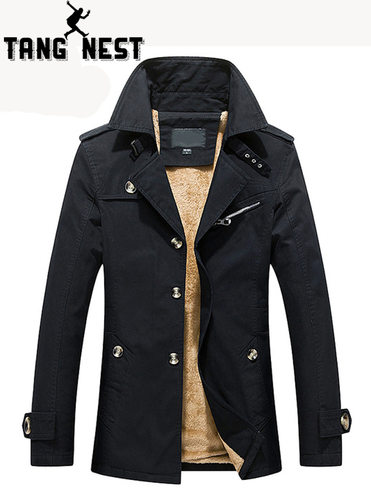 TANGNEST Winter Warm Men's Skinny Thick New Design Trench Coat Plus Velvet Asian Size M 5XL Fashion Turn down Collar Coat MWF336