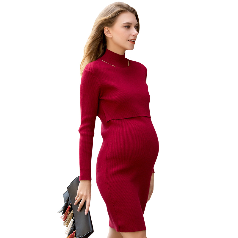Loveincolors Maternity Women Sweater Dress Turtleneck Super-elastic Feeding Nursing Clothes women turtleneck front pocket sweater dress