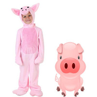 Pink Pig Costume adult Kids Animal Cute Little Piggy Fancy Dress Jumpsuit with Hood Gloves Carnival Costumes