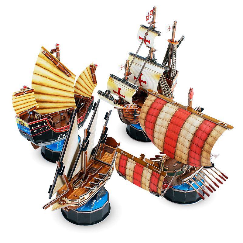 candice guo! new style cubicfun 3D puzzle DIY paper model fantasy Q boat pirate ship santa maria roman warship children gift 1pc super space aircraft style diy 3d paper foam puzzle multicolored