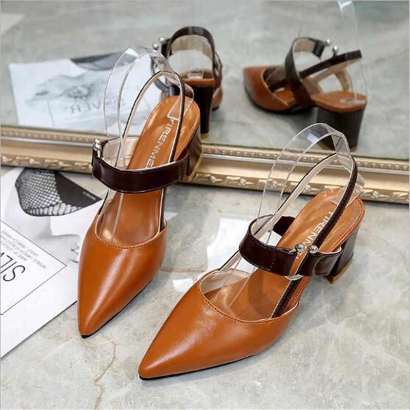 ¡Novedad de Primavera/otoño! Sandalias gruesas ahuecadas de tacón alto sexys con punta en pico, zapatos de mujer para fiesta a21