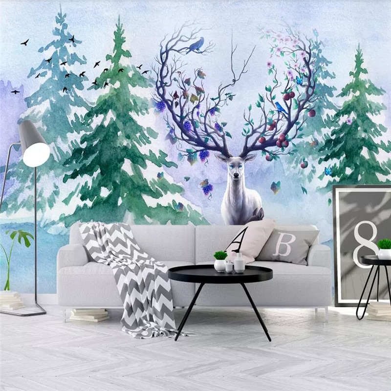 Custom 3D photo wallpaper Nordic small fresh hand-painted watercolor cartoon elk mural home decoration