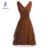 Elegant Brown Chiffon Cocktail Dresses Formal Gown Evening Party Dress Knee Length