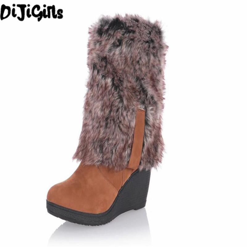 2017 Hot Women boots winter heels knee high boots warm cotton padded shoes women high wedges suede leather snow boots ba45