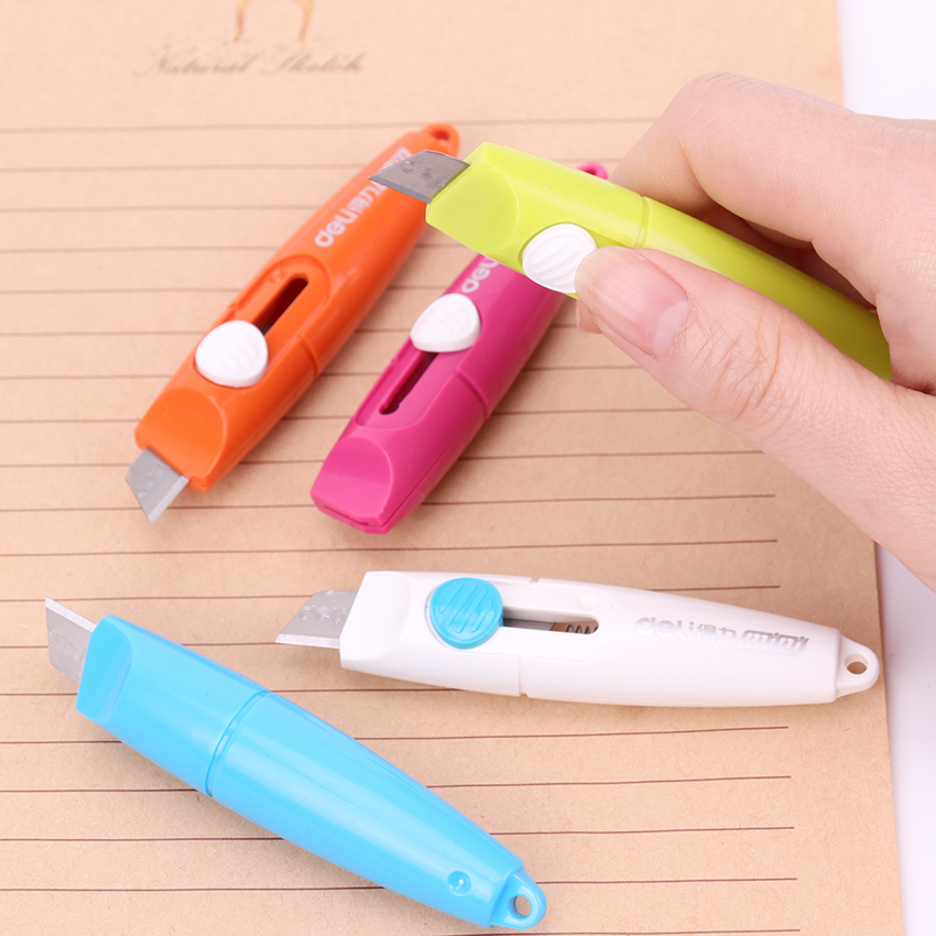 1PC Portable Office To Learn Tailoring Supplies Useful Stationery Knife Stainless Steel Paper Cutter 5 Kinds Of Color Art Knife