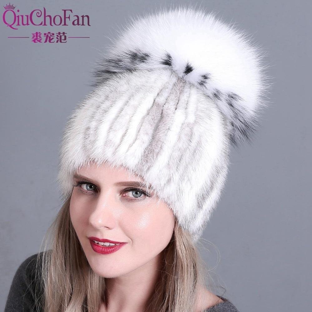 women knitted Mink Fur Hat styles female fur Cap with fox fur pompom lining Women Winter