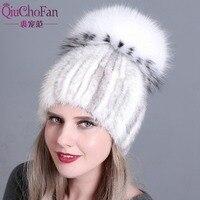 women knitted Mink Fur Hat styles female fur Cap with fox fur pompom lining Women Winter Headwear girls hats for beanies