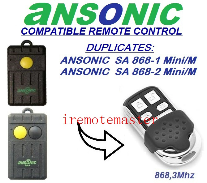 Ansonic SA868-1mini/M,SA864-2mini/M Cloning replacement Remote Control Duplicator 868,3 MHz