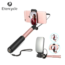 Etercycle extensible de mano monopie disparador remoto con cable incorporado selfie stick con espejo retrovisor para ios y android smartphones