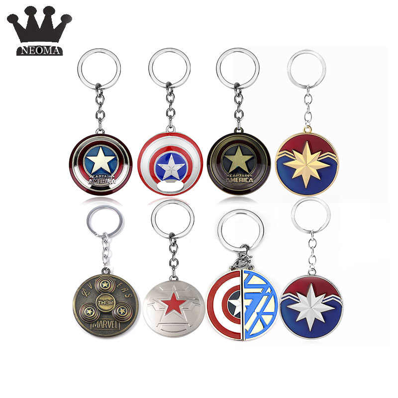 The Avengers 4 Endgame Captain America Star Shield Keychain For Keys Action Figure llaveros Key Chain Bag Car Accessories