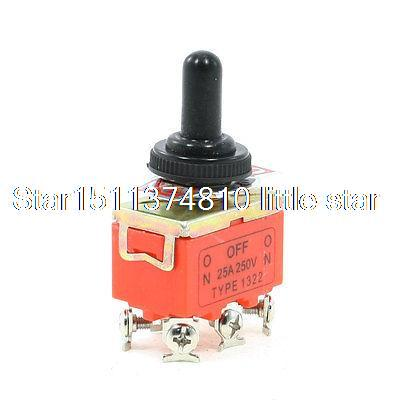 25A/250VAC On/Off/On 3 Positions DPDT 6 Terminals Toggle Switch w Waterproof Cap25A/250VAC On/Off/On 3 Positions DPDT 6 Terminals Toggle Switch w Waterproof Cap