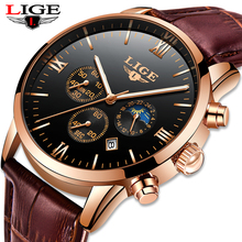 LIGE Mens Watches Top Brand Luxury Business Fashion Watch Men Leather Waterproof Clock Sport Quartz Wristwatch Relogio Masculino цена и фото