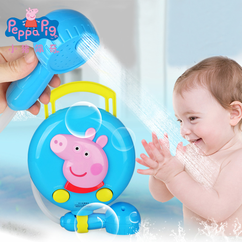 Genuine Peppa Pig blue Educational Shower bath sprinkler Bathroom play water bath toy for Children Kids Boys Gift