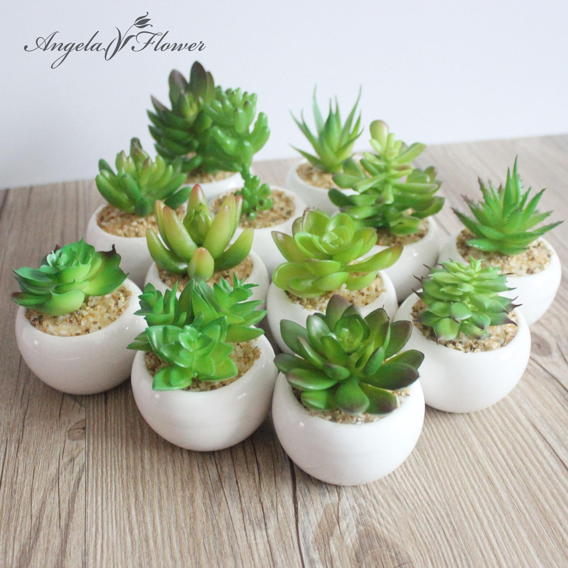 A Set Artificial Green Plant Artificial Miniascape Bonsai Potted Home Balcony