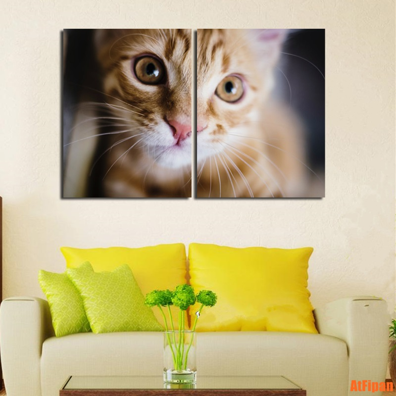 Cute Kitty Yellow Cat Baby Canvas Wall Art Unframed Painting Modular ...