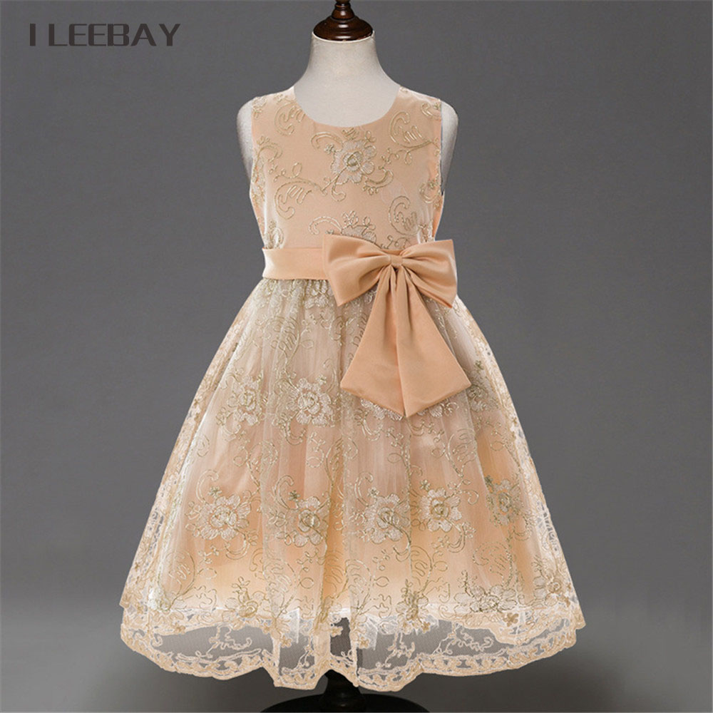 Embroidery Baby Girls Princess Dress Brand Summer Style Floral New Kids Prom Dresses for Girls Children Flower Bow Lace Clothes