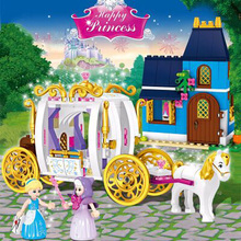 New Princess Girl Blocks 25009 Duploe Princess Cinderella Pumpkin Carriage Building Bricks Set Compatible Friends 41146 цена