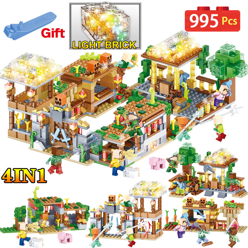 New Hot Blocks Farm Toys Compatible LegoINGLYS Minecrafted 3D Light Castle Village Series DIY Guard Educational Toys For Boys