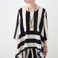 Fashion Original 2018 Summer Women Blouse Shirt Ladies Striped Half Sleeve Blusas and Tops Camisetas Mujer O Neck Graphic Femme