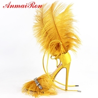 ANMAIRON Women New Fashion High Heel Sandals Feather Basic Party Lace Up Shoes Woman Sandals Big Size 34 45 LY1221