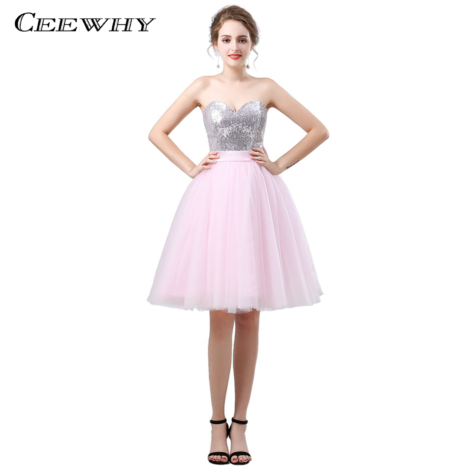 CEEWHY Sweetheart Knee Length Pink Prom   Dress   Sequinated   Cocktail     Dresses   Elegant Graduation   Dresses   Sequin Gown Vestido Coctel