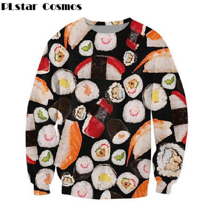 PLstar Cosmos Women 3D Food Printed Sweatshirt Delicious Sushi Printing Pullover Harajuku Outwear Female Autumn Outwear