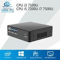HLY Mini PC DDR3 Оперативная память офисный компьютер Core i7 7500U Windows 10 мини настольный компьютер Процессор i3 7100U i5 7200U 4 К плеер HTPC