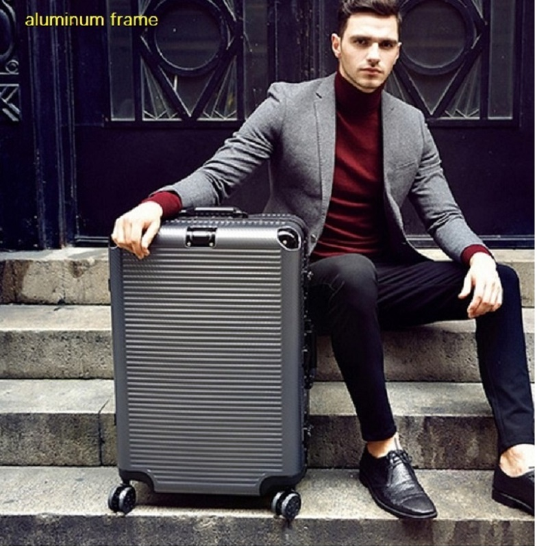Super Fashion NEW Spinner Aluminum Frame Hardside Travel Suitcase On Wheel 26