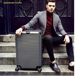 Super mode NIEUWE spinner aluminium frame hardside reizen koffer op wiel 26 reistassen trolley bagage tas 20 24